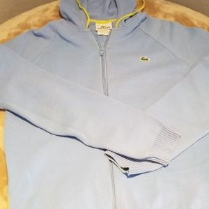 Lacoste blue zip up hooded sweater.